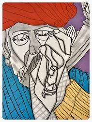 Man Ki Tarang, Aasman mein Udti Patang by Amrit Khurana, Expressionism Painting, Acrylic on Paper, Blue color