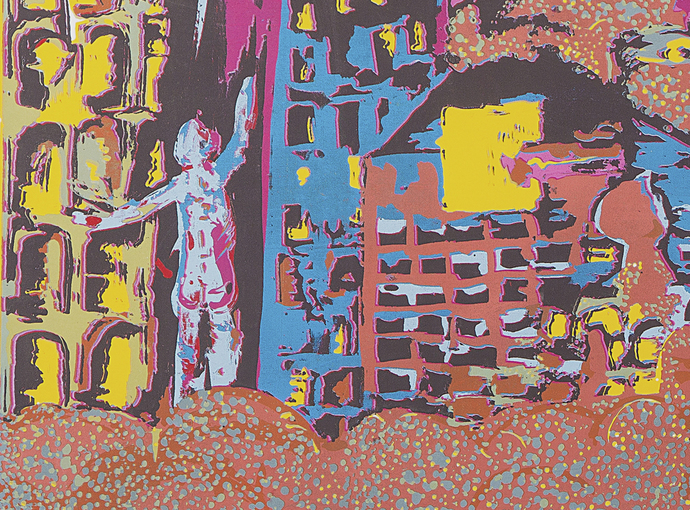 Void in the City by Vasundhara Anand, Impressionism Printmaking, Serigraph on Paper, Brown color