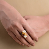 TWO-TONED PEARL RING by Symetree, Art Jewellery Ring