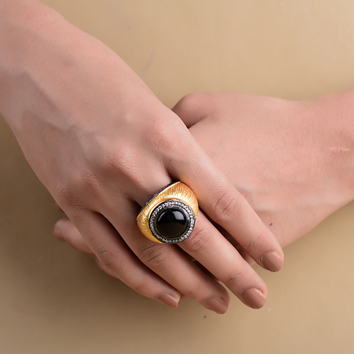 HAND TEXURED BLACK ONYX RING by Symetree, Art Jewellery Ring