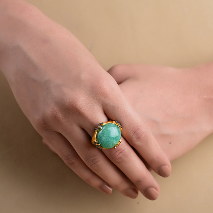 GREEN ONYX RING by Symetree, Art Jewellery Earring