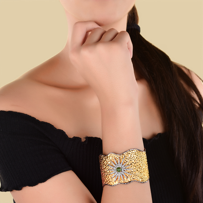 Cz Star Cuff by Symetree, Art Jewellery Bangle