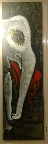 White elephant by Charushila, Expressionism Painting, Acrylic on Acrylic Sheet, Gray color