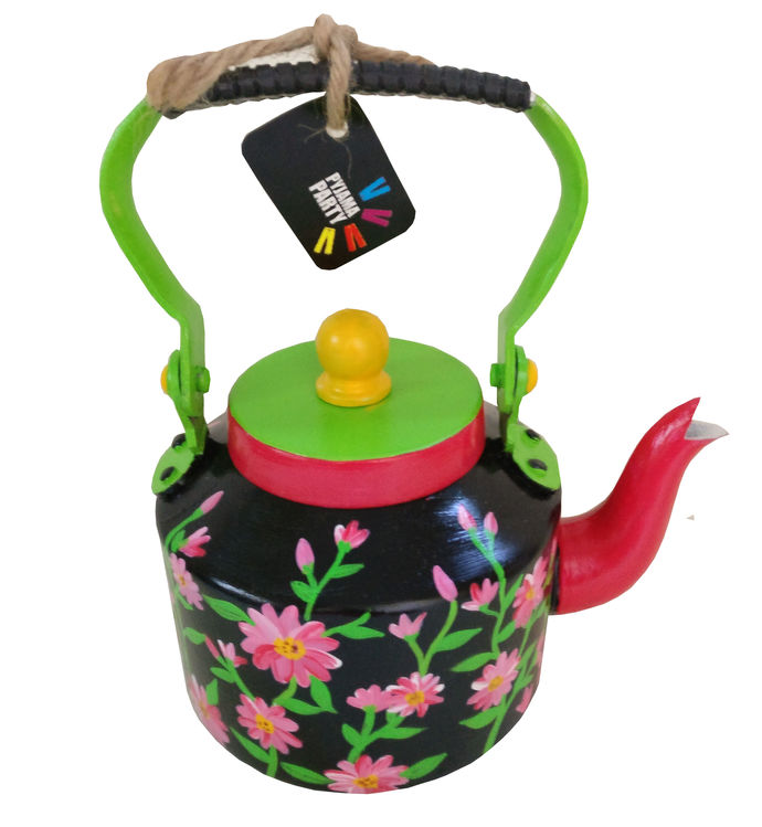 Tiny teapot hand-painted-Black beauty Serveware By Pyjama Party Studio