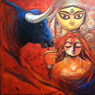 SHAKTI-II by Subrata Ghosh, Expressionism Painting, Acrylic on Canvas, Brown color