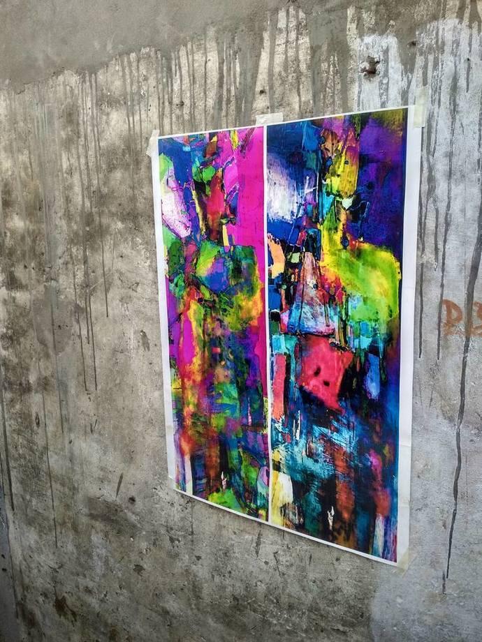 Mystic Lovers by Abhishek Kumar, Abstract Digital Art, Digital Print on Canvas, Blue color