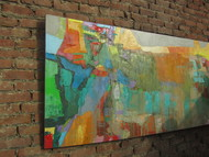read the city V by Abhishek Kumar, Abstract Painting, Oil on Canvas, Green color