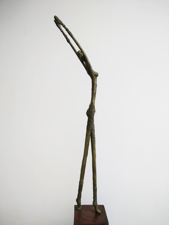BREATHING by BASUDEB BISWAS, Art Deco Sculpture | 3D, Bronze, Gray color