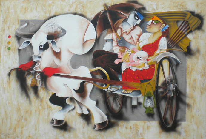 journey 3 by Uttam Manna, Expressionism Painting, Acrylic on Canvas, Gray color