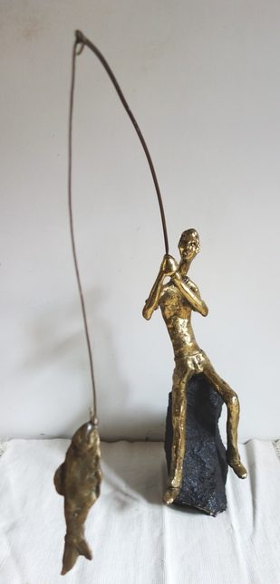 The big catch by Usha Ramachandran, Art Deco Sculpture | 3D, Bronze, Beige color