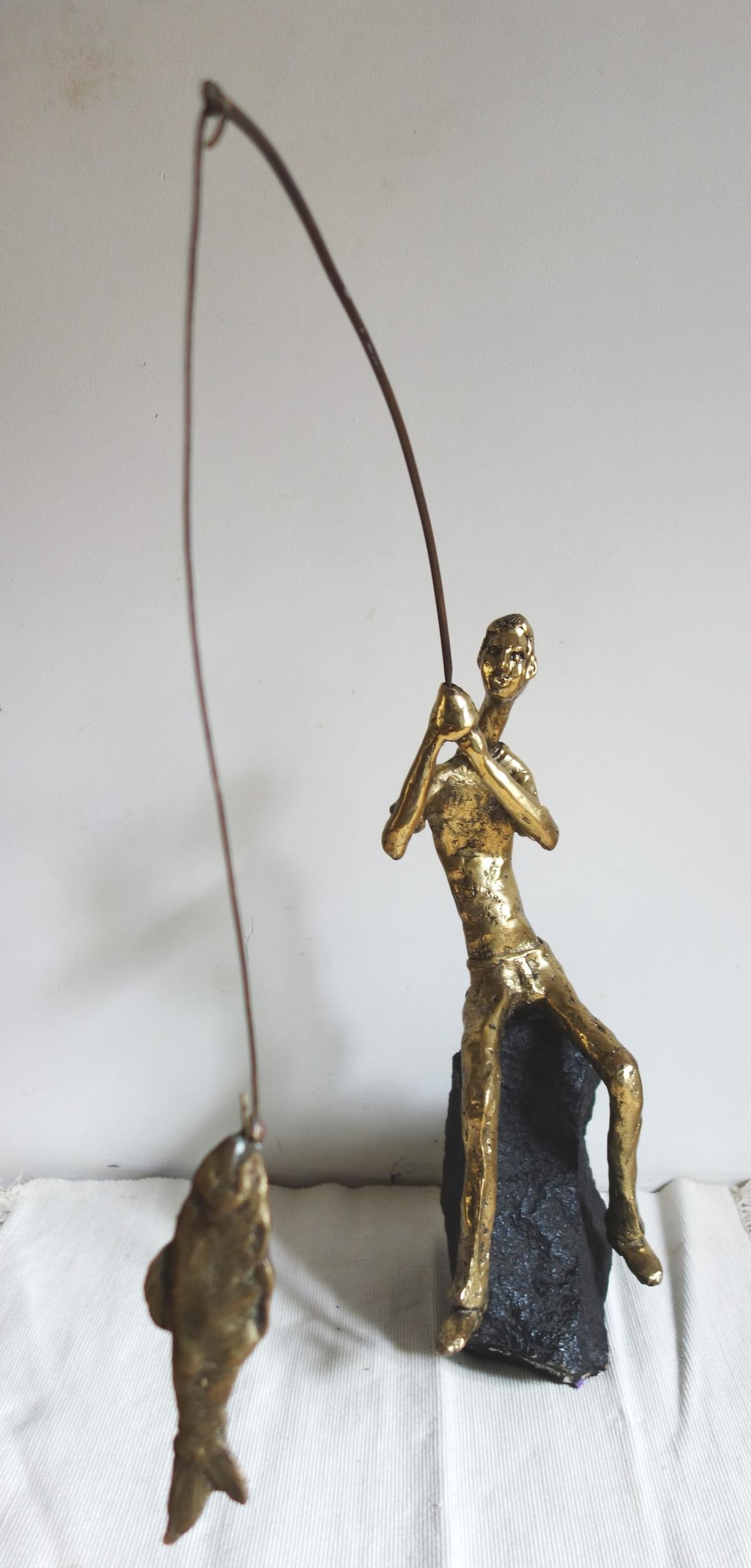 The big catch by Usha Ramachandran, Art Deco Sculpture | 3D, Bronze, Beige color
