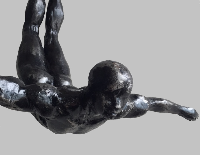 The Divers (set of 4) by Vernika, Expressionism Sculpture | 3D, Metal, Gray color