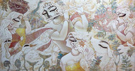 RADHAKRISHNA-II by Subrata Ghosh, Expressionism Painting, Acrylic on Canvas, Gray color