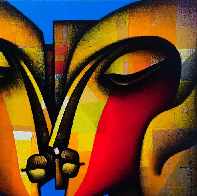 "Made for Each other, Charcoal & Acrylic on Canvas, Red, Yellow, Blue, Orange, Yellow ""In Stock"" by Jagannath Paul, Expressionism Painting, Acrylic on Canvas, Brown color"