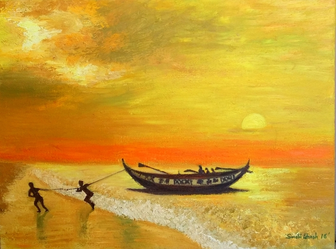MYSTICAL SUNSET by SWATI GHOSH, Impressionism Painting, Oil on Canvas, Orange color