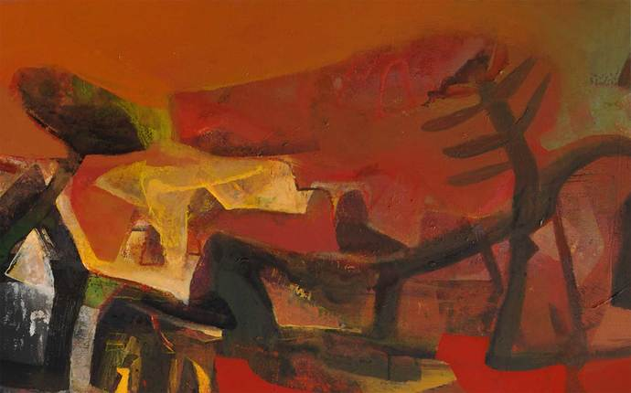 Landscape by Tapas Ghosal, Abstract Painting, Acrylic on Canvas, Brown color