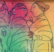 """Gossiping Woman, Mixed Media on Paper , Green, Red, Yellow by Modern Indian Artist """"In Stock"""" by Ramananda Bandyopadhyay, Illustration Painting, Mixed Media on Paper, Brown color"""