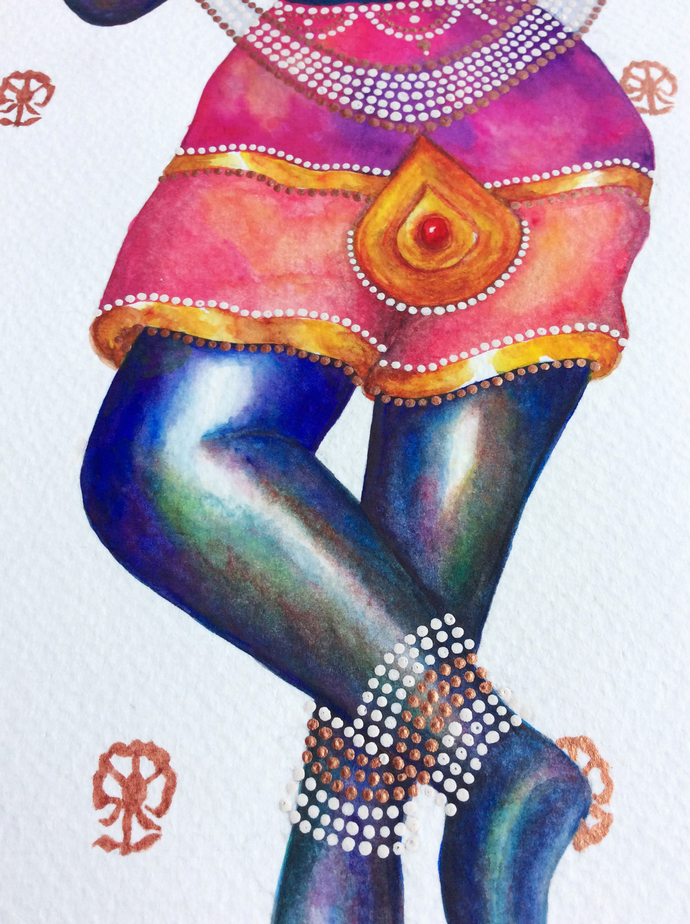 Bal Mukund by Priyanka Joshi, Folk Painting, Watercolor on Paper, White color